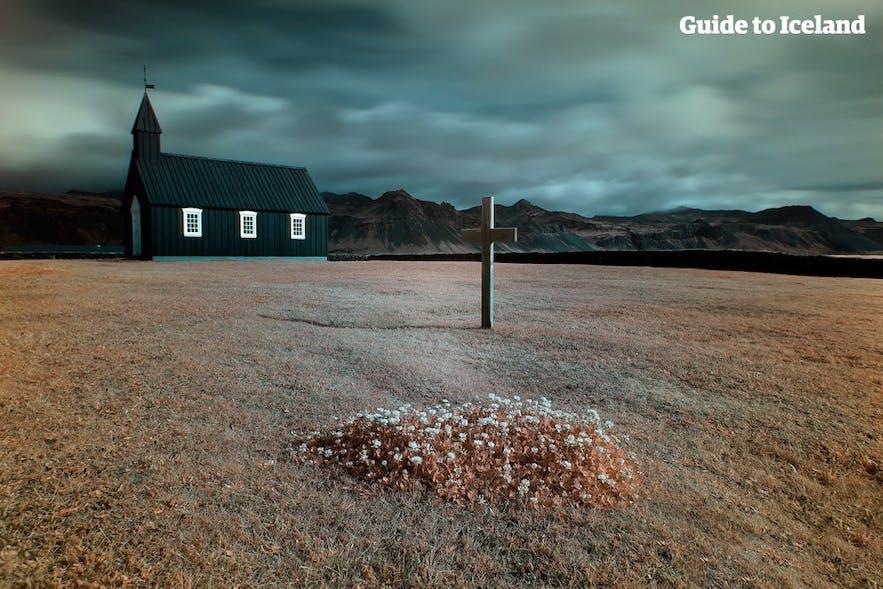 Black church at Búðir, Snæfellsnes peninsula.