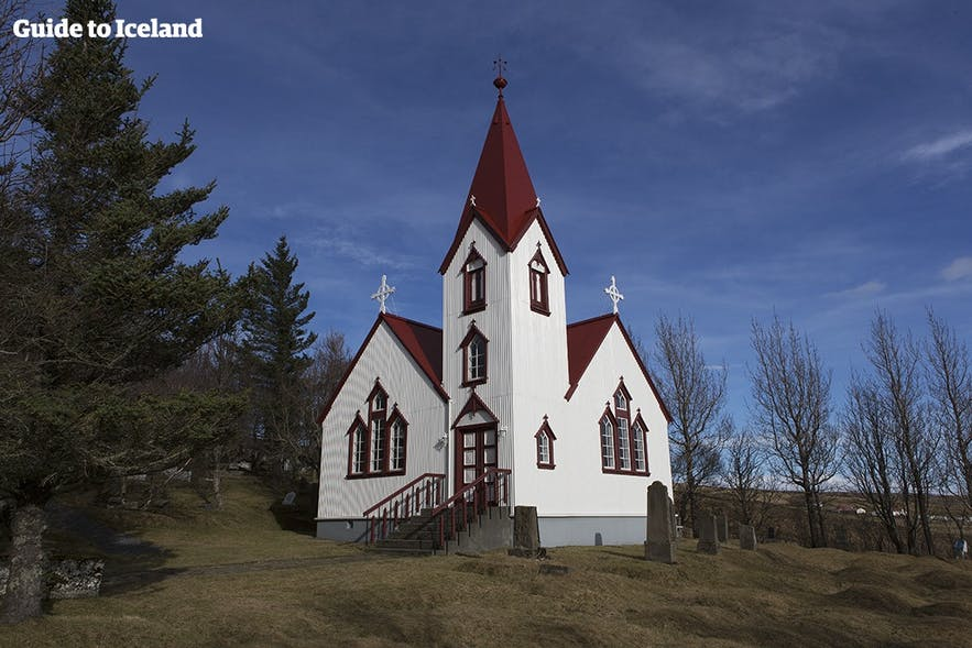 Many churches in Iceland are white painted with red rooftops.