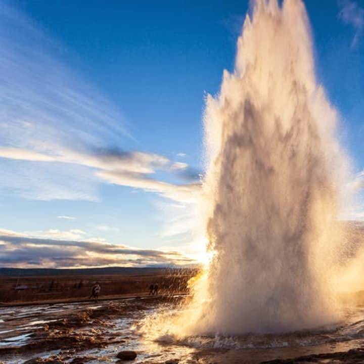 Strokkur erupts every five to ten minutes, hurtling water into the air.