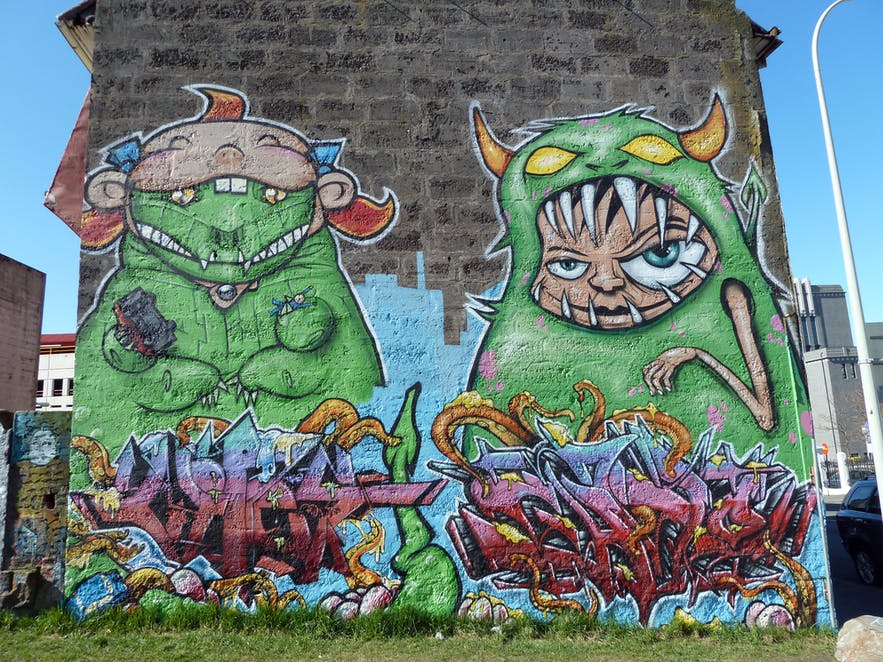 Street art and grafitti is common in Reykjavik, though much of it is state funded!