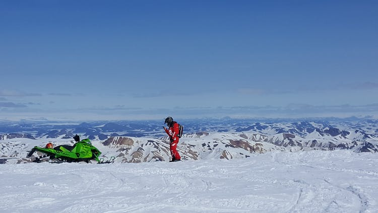 Intimately discover Landmannalaugar on this 2-Day Snowmobiling Tour.