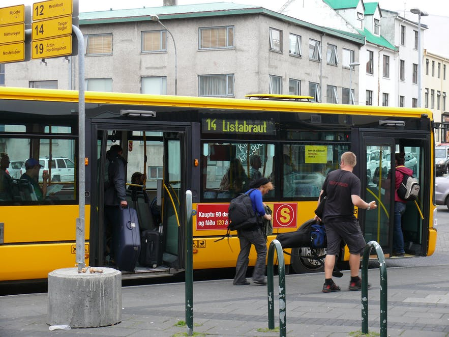The bus stop at Hlemmur, Downtown Reykjavik.