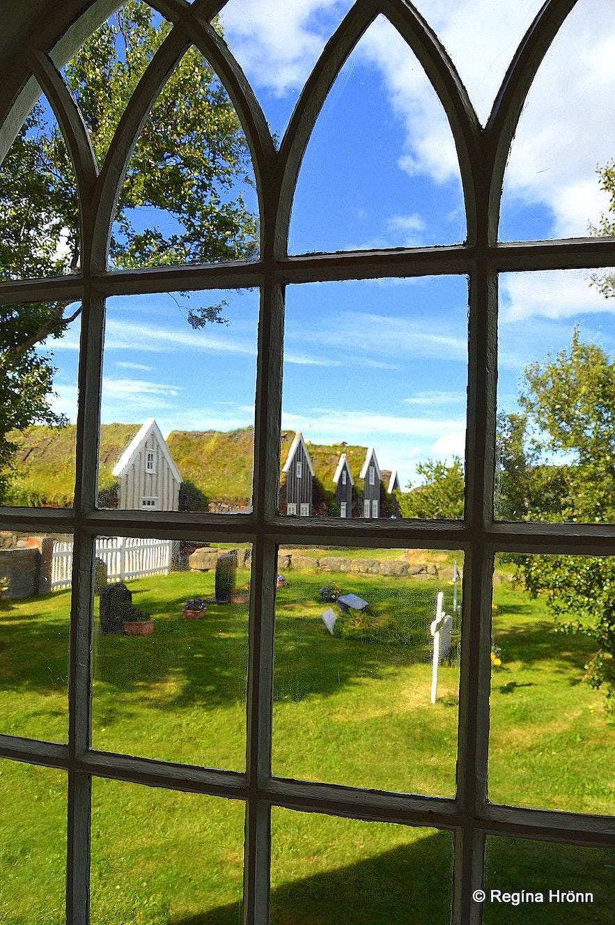 Þverárkirkja church and Þverá turf farm North-Iceland