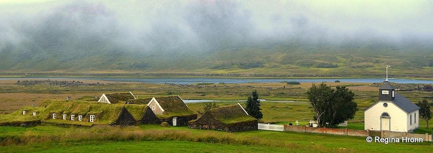 Þverá turf house and Þverárkirkja church N-Iceland