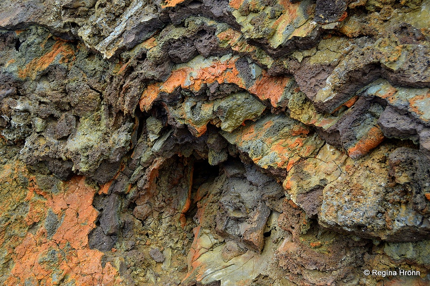 Colourful lava at Eldborg Scoria Crater on Snæfellsnes in West-Iceland