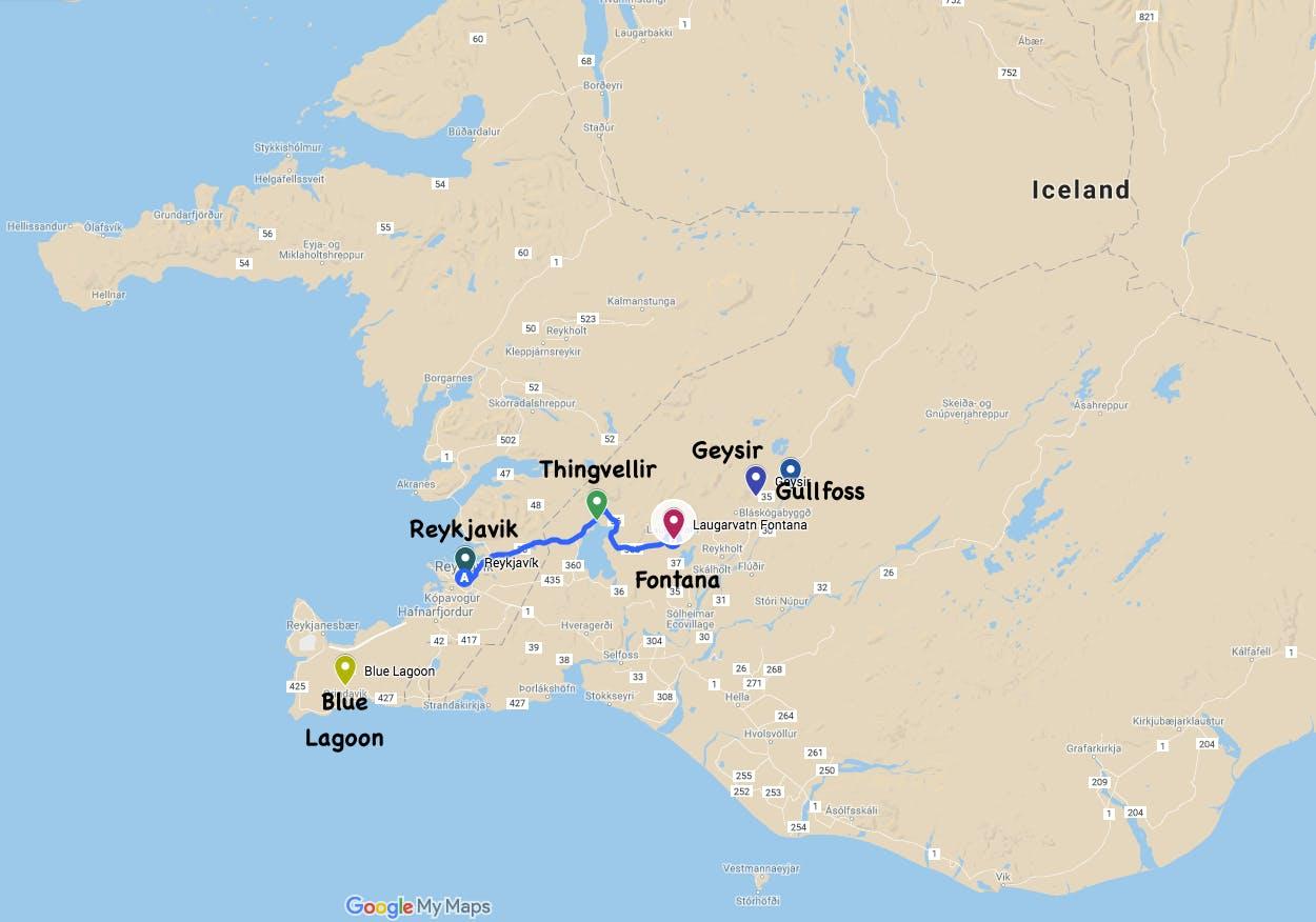 Fontana天然温泉距离首都雷克雅未克的地理位置地图