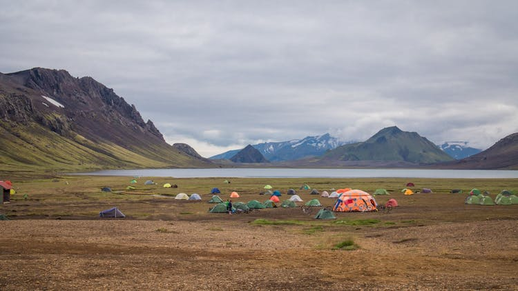 Camping is very popular in the Highlands of Iceland.