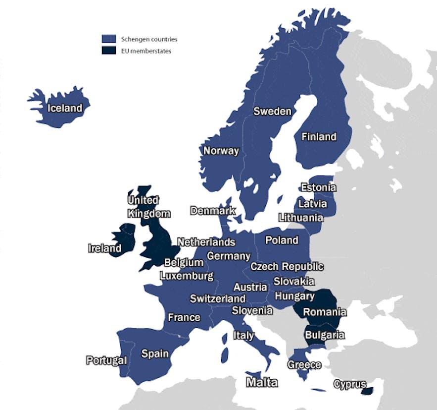 申根国地图