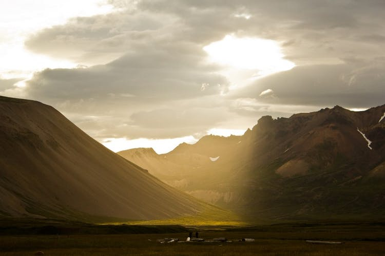 A sun beam makes the highlands of north-east Iceland extra beautiful.