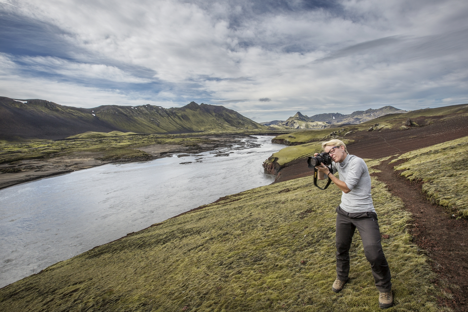 The highlands of Iceland are veined with river systems and dotted with lakes.