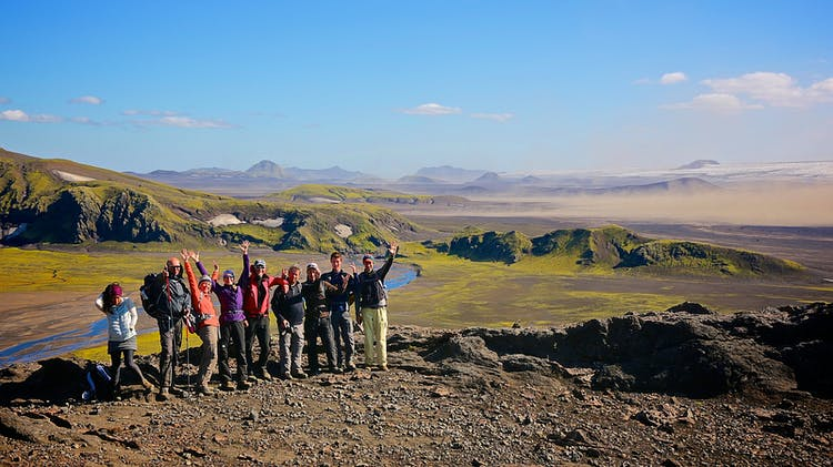 Hiking the highland trail called Strútur is a great way to make new friends on your travels to Iceland in summer.