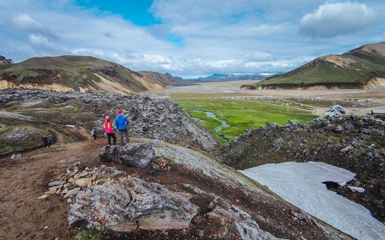 Many contrasting landscapes meet at Landmannalaugar in the Highlands.