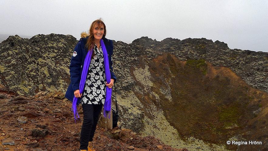 Regína at Eldborg Scoria Crater on Snæfellsnes in West-Iceland