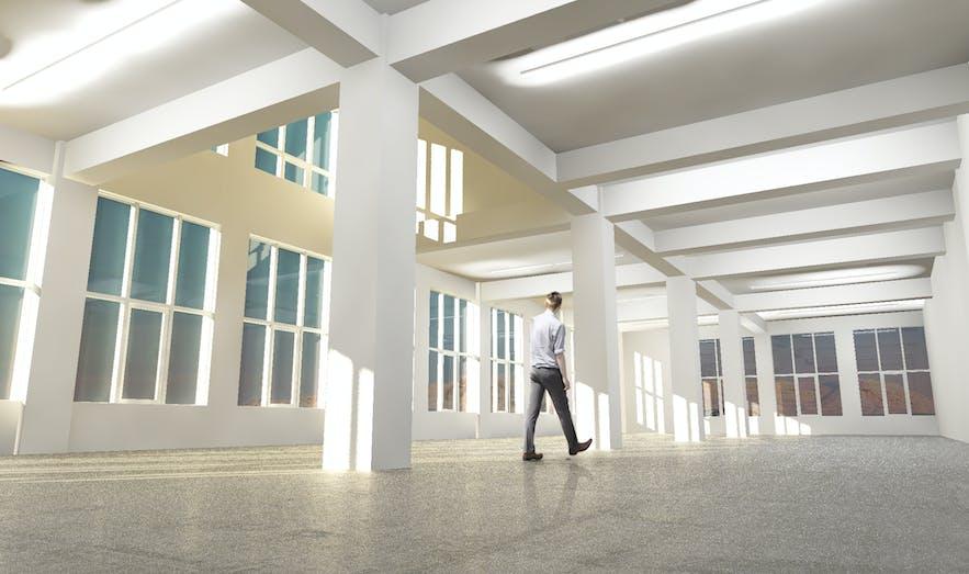 An interior shot of Kling and Bang gallery space.