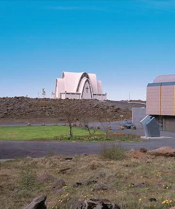 Gerðarsafn. Kopavegur Church stands in the background.