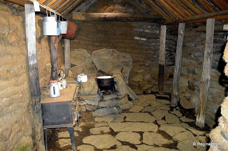Inside Sænautasel turf house on Jökuldalsheiði heath
