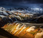 Sun rising over the rhyolitic mountains of Landmannalaugar in the highlands.