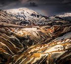 The rhyolitic mountains capped with snow in the otherworldly Landmannalaugar area in the Highlands.