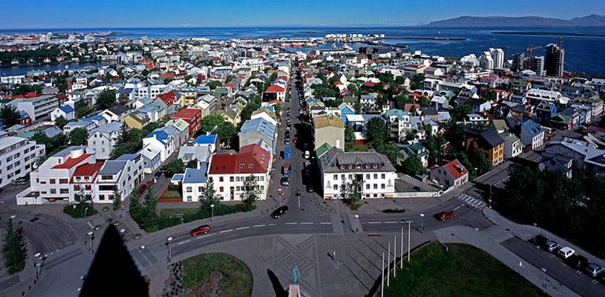 A photo of Reykjavík heavily photoshopped to make it appear that Iceland has colour.