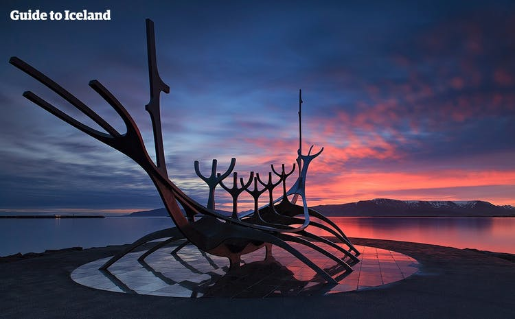 One of the most popular public artworks in Reykjavík is called the Sun Voyager, and sits on the edge of Faxaflói Bay.