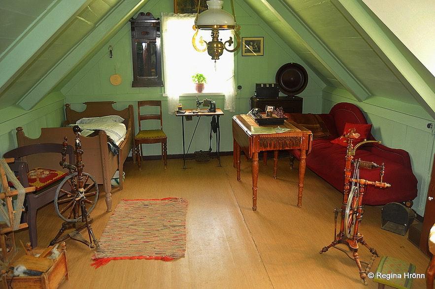 Inside Bustarfell turf house in East-Iceland