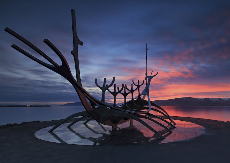 The Sun Voyager is a sculpture of stunning beauty by central Reykjavík's shore line.