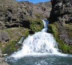 You will be visiting a hidden waterfall in Laugavalladalur Valley.