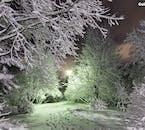 Un parque interior en la ciudad de Reikiavik durante el invierno.