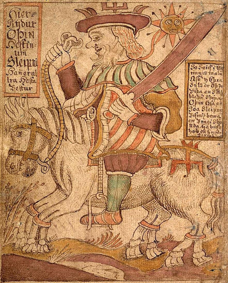 Illustration von Odin und seinem Pferd Sleipnir aus einem isländischen Manuskript aus dem 18. Jahrhundert