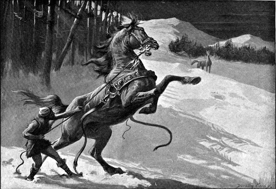 Svaðilfari und sein Besitzer vorne im Bild, Loki als Stute im Hintergrund