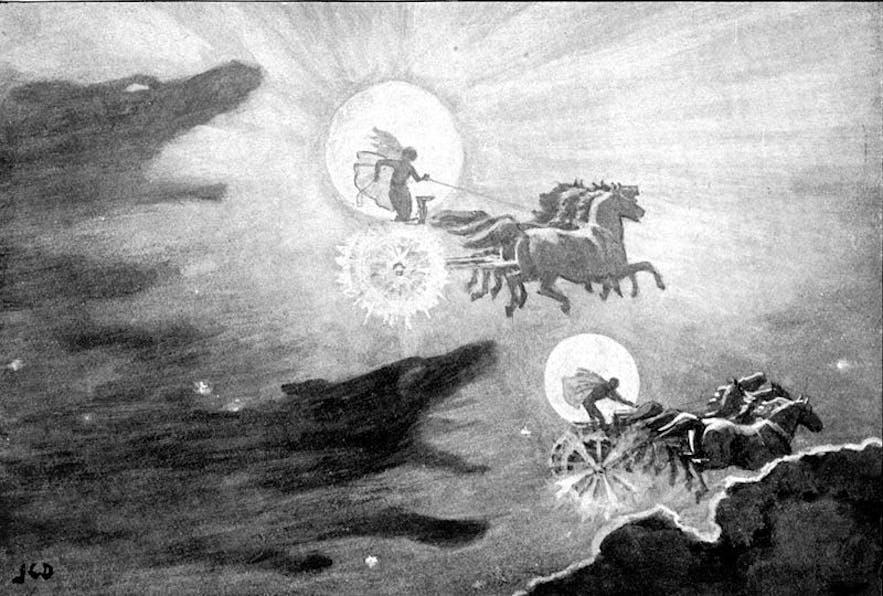 Skinfaxi und Hrímfaxi fliehen mit Dagur und Nótt vor den Wölfen