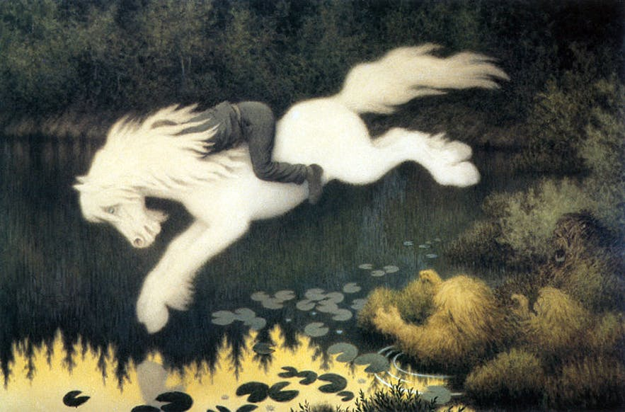 A painting called 'Boy on white horse' depicting the Nyx