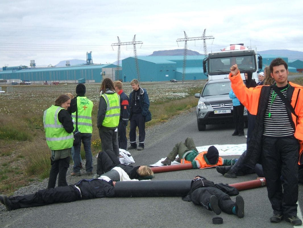 Saving Iceland activists participating in direct action.