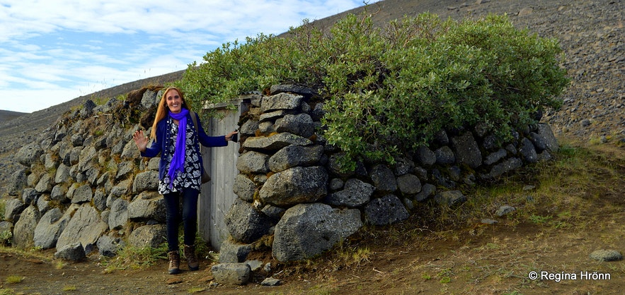 Regína by the shed Tumbi in the highland of Iceland