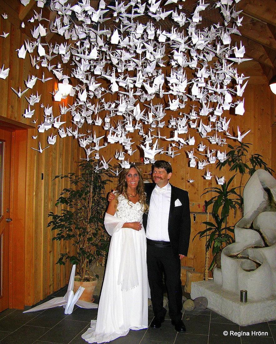Regína's wedding photo at Sólheimar village