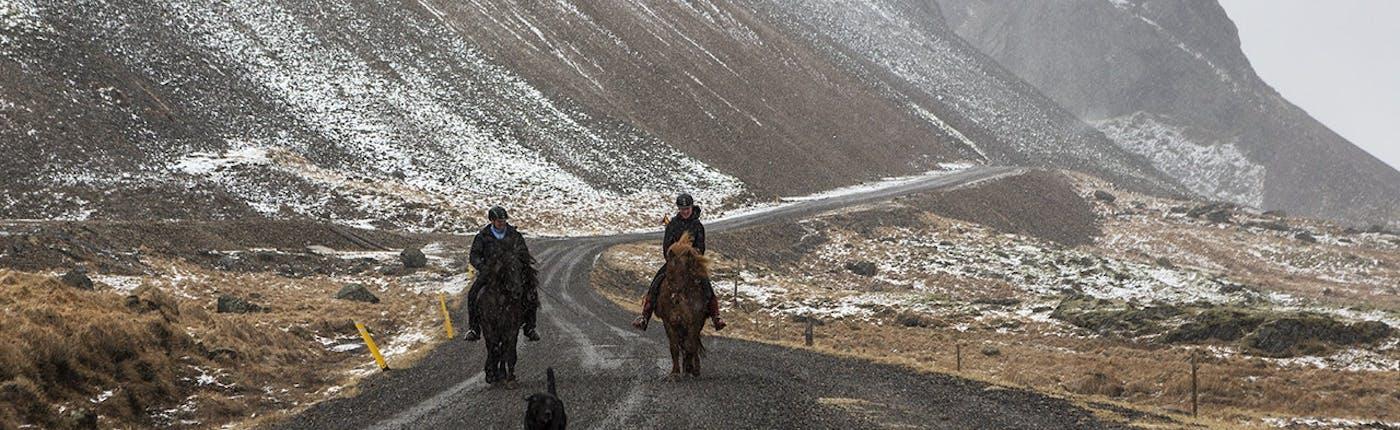 冬の乗馬ツアーの様子