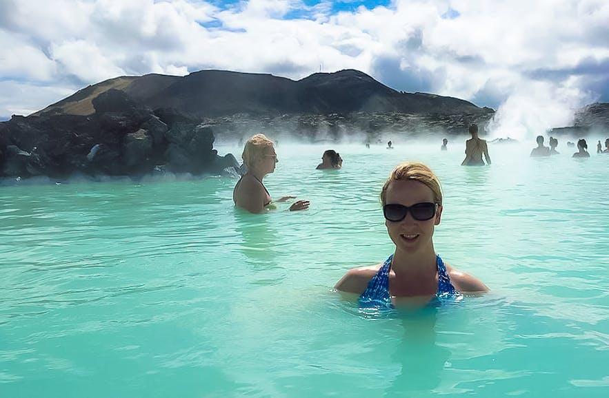 Casual Travelist enjoying a soak in Iceland's Blue Lagoon