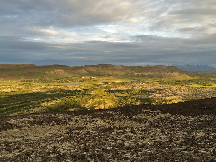 Aussicht vom Krater Grabrok in Island