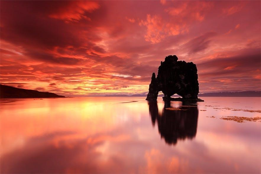 Bloodred sunset at Hvítserkur, picture by Jón Hilmarsson
