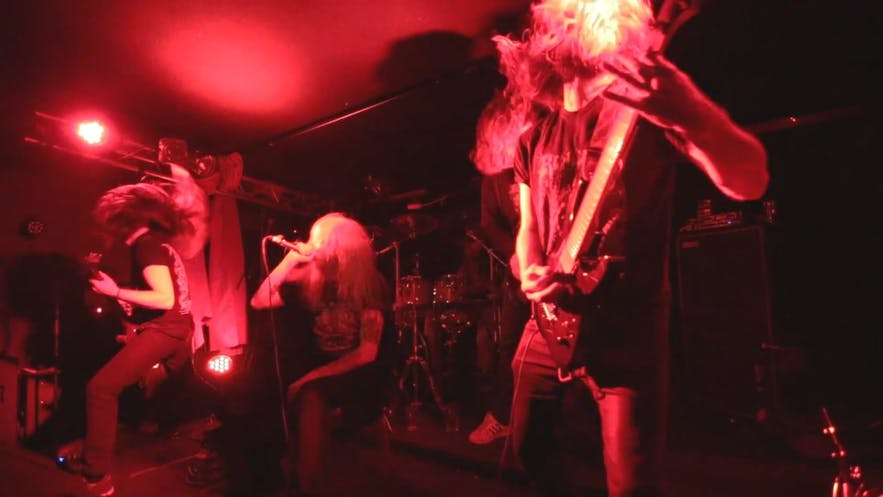 Heavy Metal band, Severed, playing on the Gaukurinn stage.