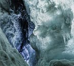 The colours of Langjökull's ice tunnel defy imagination.