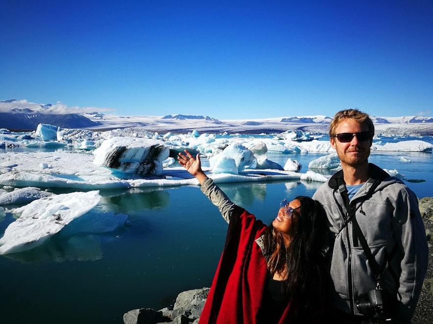 Two Monkeys Travel Group bloggers enjoying Jökulsárlón glacier lagoon