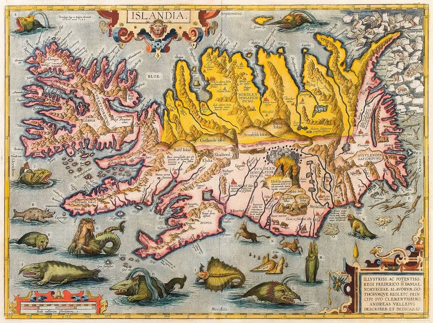 The monsters depicted surrounding Iceland are nothing compared to the monsters that live in it. Picture by Abraham Ortelius.