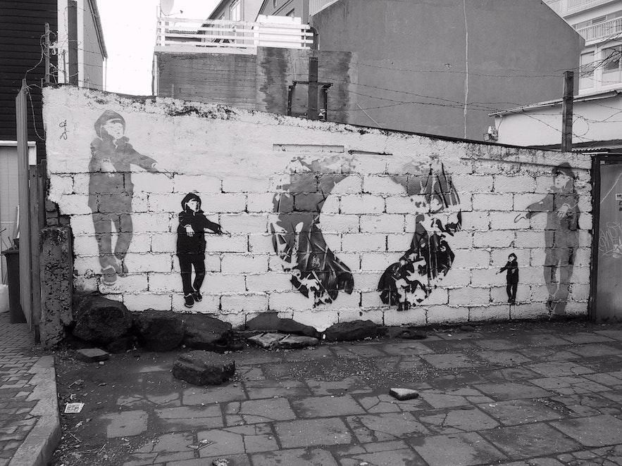 ()を模したストリートアート