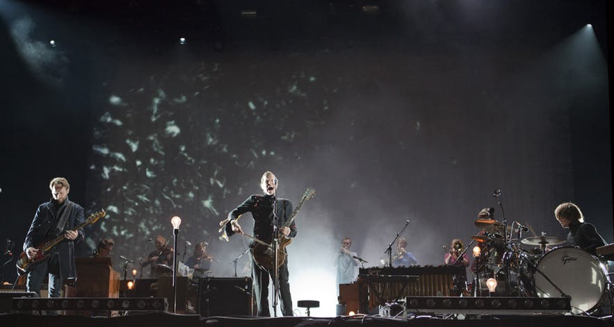 Sigur Ros performing with the famous cello bow,