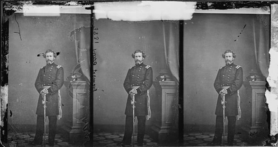 An early photograph of Union general, John C. Fremont, an early proponent of river rafting in the US.