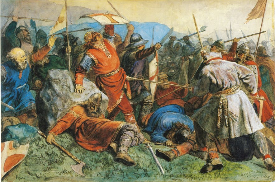 Vikings engaging in a bloody battle - Photo by 'peter Nicolai Arbo' Wikimedia Creative Commons