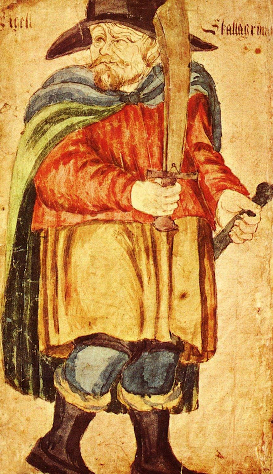 An illustration of Egill Skallagrímsson from a 17th century manuscript