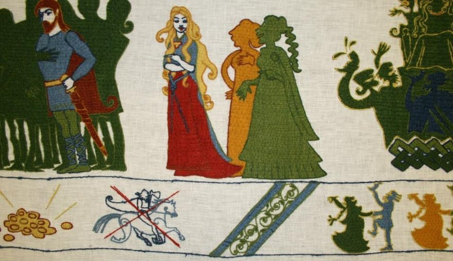 A piece of the 90 metre-long reef tapestry in Hvolsvöllur depicting Njála