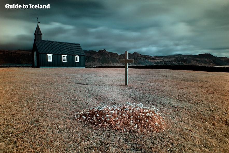 The black church at Búðir is located close to Björn's home in the Snæfellsnes Peninsula